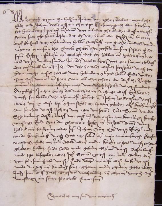 Oudste akte waarin sprake is van de Marke Haarle. 1138 Acte van overdracht door de kerkmeesters van Hellendoorn aan LUKEN SUSELER van een stuk land, genaamd de Eyckede, in Haarle, 1442 - 1442